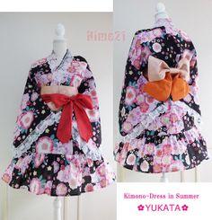 Summer Japanese Kimono Dress JacketYukata Flower Lace by Japanese Kimono Dress, Yukata, Kawaii Fashion, Jacket Dress, Dress Collection, Sewing, Trending Outfits, Lace, Handmade Gifts