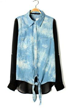 Chiffon Paneled Front Self-Tie Shirt