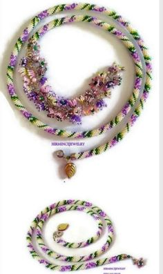 Lily of the valley, Bead crochet Necklace by SERMINCEJEWELRY