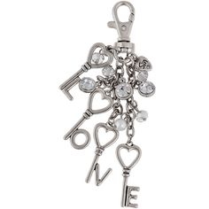 Messages from the Heart by Sandra Magsamen Silver-Tone Key Chain ($14) ❤ liked on Polyvore featuring accessories, fob key chain, heart shaped key chains and heart key chain