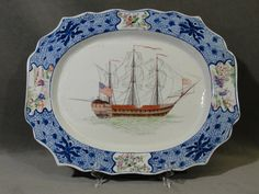 RARE 18thC Antique Hand Painted Chinese Export Porcelain Platter American SHIP | eBay