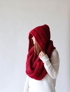 Extra Large Hooded Scarf Huge Chunky Cowl / THE NEWTOK / by ozetta