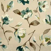 Fleur Summer Blue Green Cotton Drapery Fabric