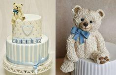 vintage teddy bear cake topper and cake by Sanna's Tartor