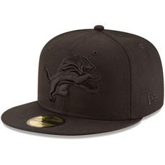 hot sale online 50102 4299c Detroit Lions New Era Black on Black 59FIFTY Fitted Hat