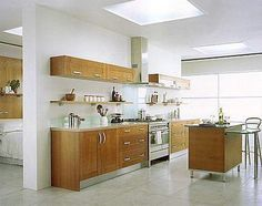 One wall modern kitchen with i....