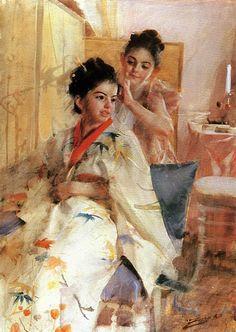 Art Of Watercolor: Anders Zorn, 1888 - The misses Salomon.