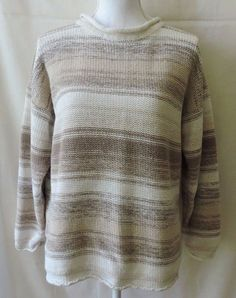 Ricki Women Vintage Cream And Brown Pullover Sweater Size M #Ricki #Pullover