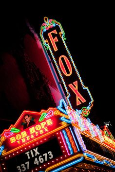 Fox Theater Vintage Neon Marquee Sign  Neon by RetroRoadside on etsy