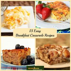 13 Easy Breakfast Casserole Recipes - Whether you're looking for a breakfast casserole with hash browns, an egg and sausage breakfast casserole or a French toast casserole, you will find it in this tasty breakfast casserole recipe collection. Easy Breakfast Casserole Recipes, Breakfast Dishes, Brunch Recipes, Breakfast Time, Brunch Food, Sausage Breakfast, Cooking Recipes, Easy Cooking, Easy Recipes