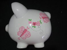This item is unavailable Large Piggy Bank, Pig Bank, Personalized Piggy Bank, Butterfly Flowers, Butterflies, Baby Shower Centerpieces, Ceramic Painting, Minnie, Paint Designs