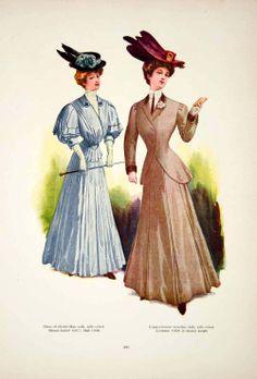 1907 Color Print Fashion Costume Clothing Edwardian Hat Model Pose Cane Dress | eBay