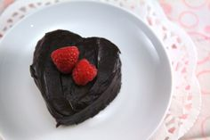 Chocolate Raspberry Heart Cakes for Valentine's Day! Lower Cal & Lower fat :)     Chocolate cake with raspberry filling and creamy chocolate ganache