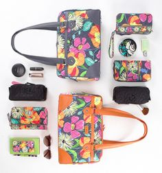 Holly and Courtney's everyday essentials in the Caroline in Jazzy Blooms Girls Accessories, Travel Accessories, Backpack Pattern, Vera Bradley Purses, Pack Your Bags, Pencil Pouch, Purses And Bags, Satchel, Tote Bag