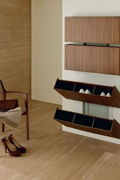 47 Amazing Bedroom Design Ideas with Storage Rack That Inspire If you're searching for more bedroom storage choices to continue to keep your bedroom neat and tidy, look at our … Wall Shoe Rack, Wall Mounted Shoe Rack, Shoe Racks, Folding Shoe Rack, Wall Shoe Storage, Wardrobe Storage, Cool Furniture, Furniture Design, Furniture Plans
