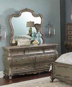 Florentina Old World Silver Gold Wood Glass Dresser
