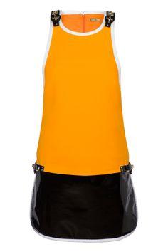 Abito Fay- Ispirazione color block in chiave Sixties per il prezioso abito in tessuto stretch con pannello in vernice nera,  profili bianchi a contrasto e piccoli ganci sui fianchi e sulle spalle.
