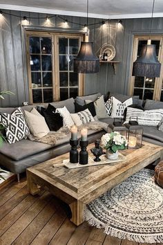 Diy Living Room Decor, Living Room Grey, Home Living Room, Living Room Designs, Home Decor, Living Room Ideas With Grey Couch, Apartment Living, Rustic Modern Living Room, Living Room Decorating Ideas