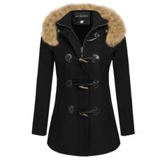 Fashion Women Ladies Casual Slim Jacket Faux Fur Hooded Coat Outwear Overcoat | eBay