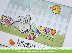 LAWN FAWN | Hi There Happy Easter Card