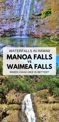 Manoa Falls or Waimea Falls, waterfalls in Oahu Hawaii. For US hiking trails in Hawaii, there are waterfall hikes on Oahu to choose during Hawaii vacation on the island. Manoa Falls is near Honolulu and Waikiki, and Waimea Falls is on North Shore. People go swimming at both Oahu hikes. Outdoor travel destinations and activities for the bucket list for budget adventures! Put hiking gear for what to wear on Hawaii packing list.