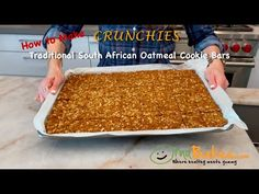 How to Make Crunchies - Traditional South African Oatmeal Cookie Bars #crunchies #oatcookiebars #southafrican