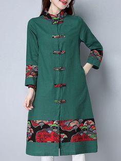Folk Style Print Patchwork Frog Button Long Sleeve Women Coats is hot sale on Newchic,here women Coats & Jackets with unbelievable discounts. Kurti Neck Designs, Kurta Designs Women, Blouse Designs, Batik Fashion, Folk Fashion, Coats For Women, Clothes For Women, Batik Dress, Chic Outfits