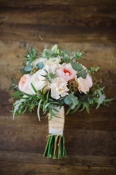 Rustic wedding bouquet for a beautiful backyard wedding. (color themes for wedding beautiful)