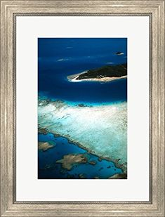 Aerial of Castaway Island Mamanuca Islands Fiji by David Wall  Danita Delimont Framed Art Print Wall Picture Silver Scoop Frame 18 x 24 inches -- Visit the image link more details. Note:It is affiliate link to Amazon.