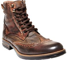 Men's Steve Madden Gastonn Wing Tip Boot - Cognac Leather Boots