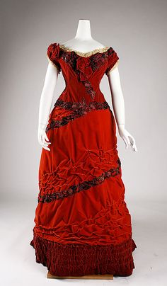 """Red silk and cotton velvet ball gown (front), British, ca. 1875. Label: """"Elise, 170 Regent St., London"""""""