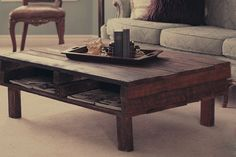 The Felicia. Custom (made to order) Dark Stained Coffee Table. Made of reclaimed wood. Free Shipping.. $195.99, via Etsy.