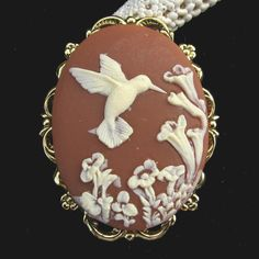 Cameo Brooch or Pendant Hummingbird with Flowers Rust Brown on Etsy, $14.50
