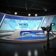 Scene tv studio news set model Tv Set Design, Stage Set Design, Display Design, Booth Design, Virtual Studio, Studio Interior, News Studio, Photo Effects, New Set