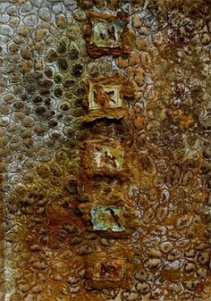 tyvek on rusted cotton fabric, Lynda Monk.
