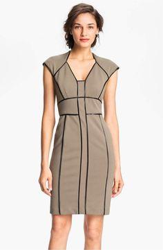 537254d4d0 Maggy London NWT Women s Faux Leather Trim Sheath Dress size 4 Olive Green  1038  MaggyLondon