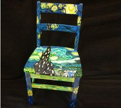Decorated Chairs for Charity | vincent van gogh inspired wooden painted chair