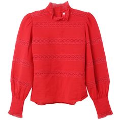 Isabel Marant Ria Vintage Top ($355) ❤ liked on Polyvore featuring tops, vintage tops, isabel marant top, red top and isabel marant