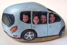 Painted rock- car