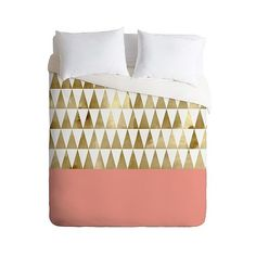 Georgiana Paraschiv Gold Triangles Duvet Cover from DENY Designs Home Accessories is colour block magic. Pink Bedding, Bedding Sets, Bright Bedding, Queen Bedding, Twin Bed Linen, Triangles, Queen Beds, New Room, Bed Design