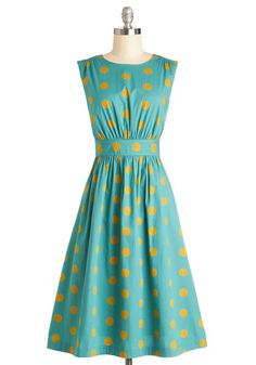 Too Much Fun Dress in Gold Dots #modcloth