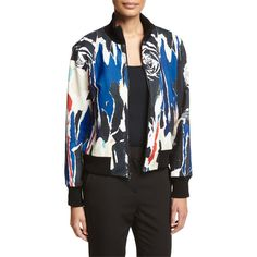 DKNY Abstract Ponte Bomber Jacket ($630) ❤ liked on Polyvore featuring outerwear, jackets, black, dkny jackets, dkny, ponte knit jacket, flight jacket and long sleeve jacket