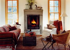 I want to sit on the sofa beside the cozy fire and read a book -- the autumn hues are soooo comfy!!