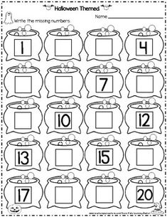 Halloween Themed Missing Numbers and Letters (Write it, Cut it and Paste it) Shapes Worksheet Kindergarten, English Worksheets For Kids, Free Kindergarten Worksheets, Numbers Preschool, Preschool Math, Math Literacy, Vocabulary Activities, Math For Kids, Letters
