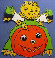 Vintage Die Cut Halloween Decoration 1950s Pumpkin Scarecrow JOL