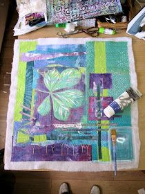 I seem to have taken a very long time getting this third chestnut leaf gelli print piece quilted. It is bigger than the others . Gelli Plate Printing, Printing On Fabric, Fabric Painting, Fabric Art, Quilting Projects, Art Projects, Collage Art, Collage Ideas, Collages