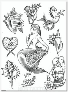 Will Koffman / English Tattoo Company / Newport Beach, CA --- love the seashell/flower design in the upper left corner Sea Tattoo, Ocean Tattoos, Mermaid Tattoos, Body Art Tattoos, Nautical Tattoos, Skull Tattoos, Rope Tattoo, Seahorse Tattoo, Tattoo Kind