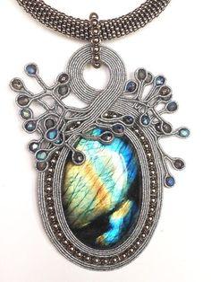 Soutache Pendant, Soutache Necklace, Tassel Earrings, Pendant Necklace, Heart Jewelry, Boho Jewelry, Jewelry Accessories, Shibori, Beaded Embroidery