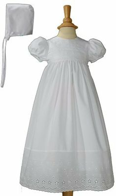 e71b6336b White Poly Cotton Christening Baptism Gown with Lace Border with Bonnet- 6  Month
