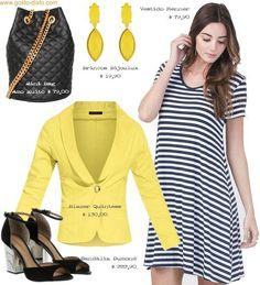 Como usar vestido camiseta listrado